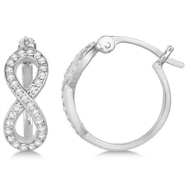 Diamond Infinity Style Hinged Hoop Earrings 14k White Gold 0 33ct