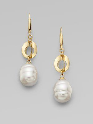 Majorica - 12MM White Baroque Pearl Link Drop Earrings. LOVE <3