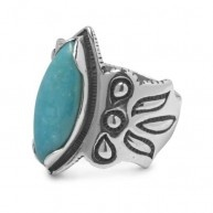 A brilliant blue stone of Kingman turquoise is enhanced by artistic etching in this ring by Navajo designer Cody Sanderson. Known for mixing traditional elements with contemporary style, Cody offset t...