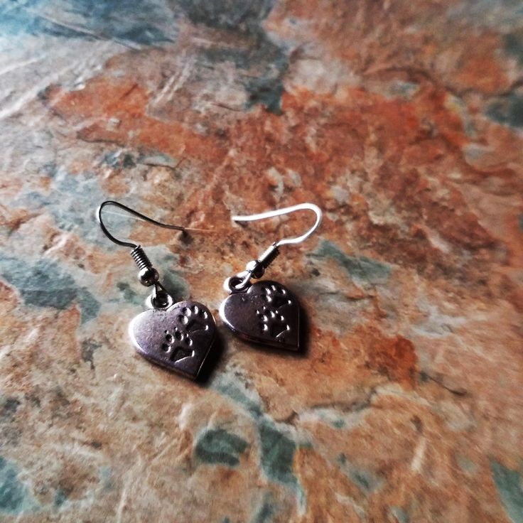 Heart Dangle Earrings, Paw Print Drop Earrings,Dog Lovers Gifts,Handmade Earrings,Ladies Earrings,Gifts gor Her,Gifts For Mum,Birthday Gifts by SpryHandcrafted on Etsy