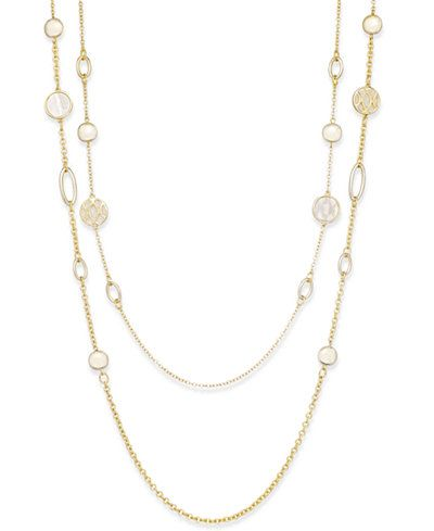 Charter Club Gold-Tone Shell-Look Long Length Double Layer Necklace, Only at Macy's