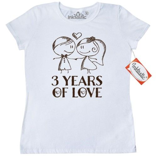 Inktastic 3rd Anniversary Couples Line Drawing Women's T-Shirt 3 Year Anniversaries Wedding Couple Cute Gift Hand Drawn Third Occasions Clothing Apparel Tees Adult Hws, Size: XL, White