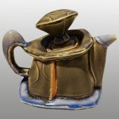 "#TeapotTuesday: Chris Pickett's Tea Pot  Date: ca. 2015  Form: Teapot  Materials: White Stoneware  Method: Slab Built  Surface Technique: Glaze https://www.themarksproject.org/marks/pickett  #Ceramics #Pottery #Stoneware #AmericanCeramics #ChrisPickett ""Dot. Dot. Dot."", Pawtucket Armory Arts Center, NCECA 2015, Providence, RI"
