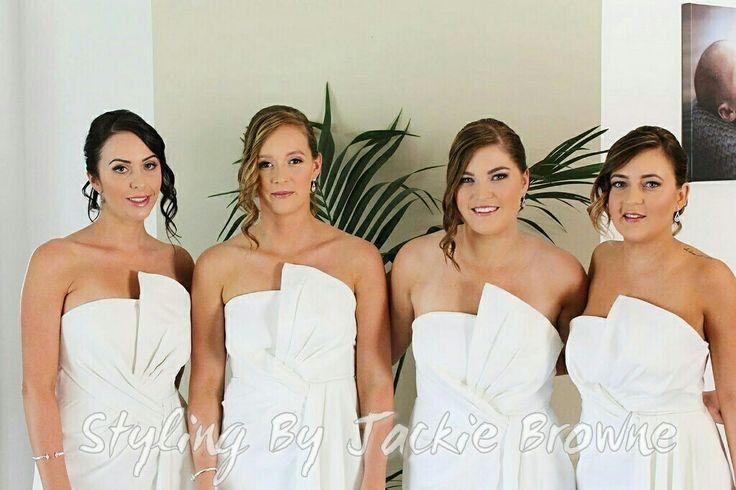 My beautiful Bridesmaids in white. Natural makeup