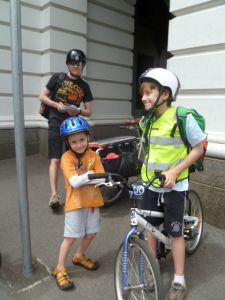 Family riding holiday from Melbourne to Ballarat - this photo is taken having just got off the train.