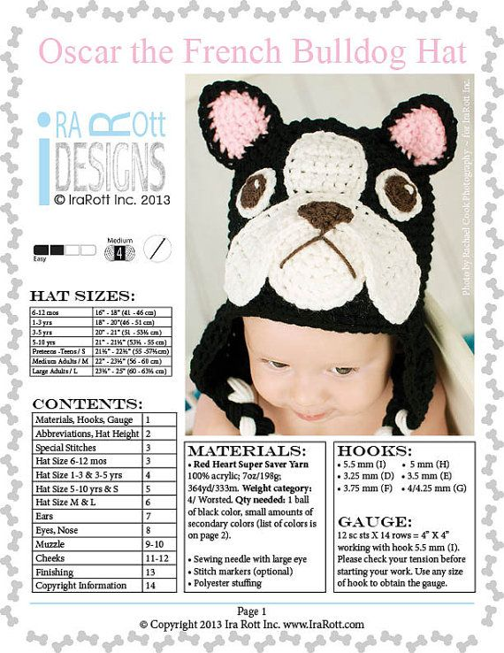 CROCHET PATTERN Oscar The French Bulldog Puppy Dog Hat Crochet PDF ...