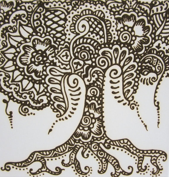 henna tree in henna paste on 12 x 12 canvas ready to hang. $30.00, via Etsy.