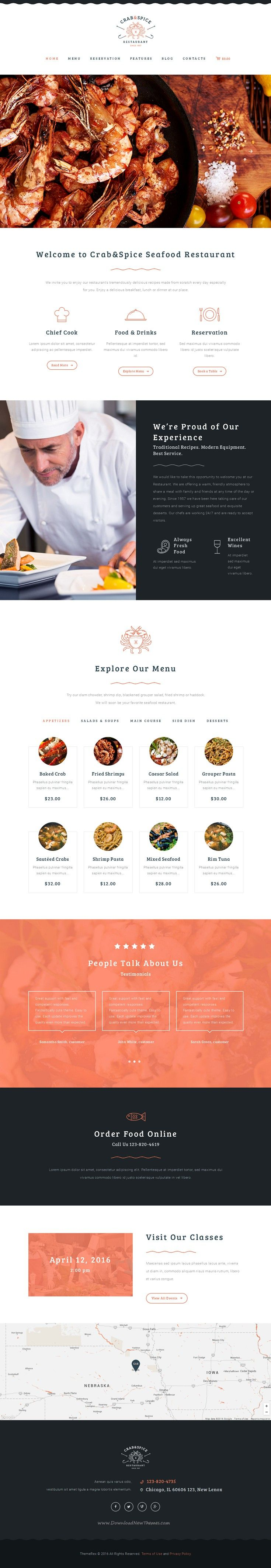 CRAB & SPICE combines modern and interactive design responsive WordPress #Theme for #restaurant, cafe, bar or food business yummy #website. Download Now!