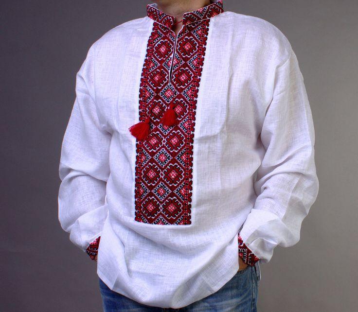 VYSHYVANKA hemden herren Ukrainisches Hemd Stickerei LINEN Weiß rot schwarz L-XL