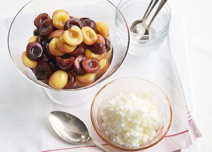 Cherry salad with almond-milk granita