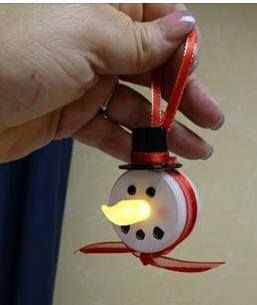 Battery operated tea lights make cute ornaments. Here is a snowman, but you could also do reindeer, Santa, Pinnochio, etc.