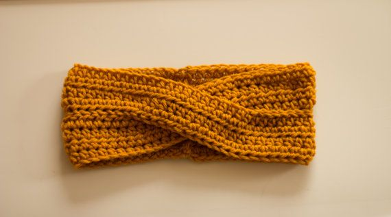 Mustard Yellow Knit Headband Goldenrod Womens by PreciousLambKnits