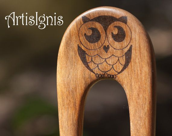 """Wood Burned Hair Fork """"Owl Be Cute"""", Alder Wood Hair Pin, Two Pronged Handmade Hair Stick, Hand carved, Pyrographed by hand - MADE TO ORDER"""