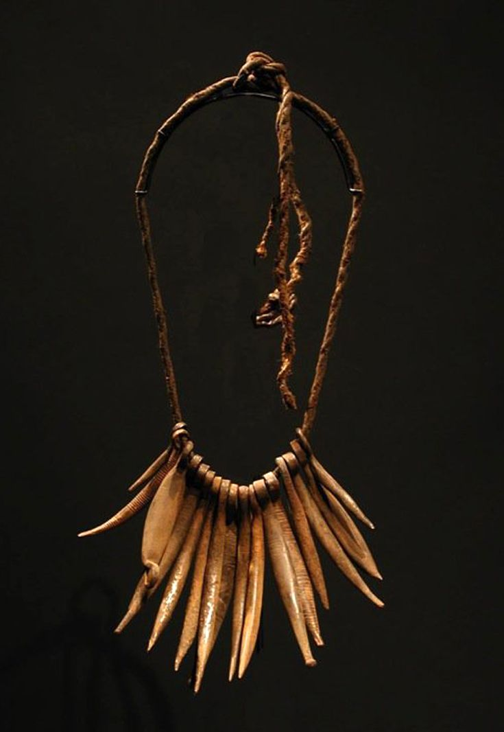 Tribal necklace from Africa |from northern Cameroon or Chad | Forged iron fingers and pods on cord