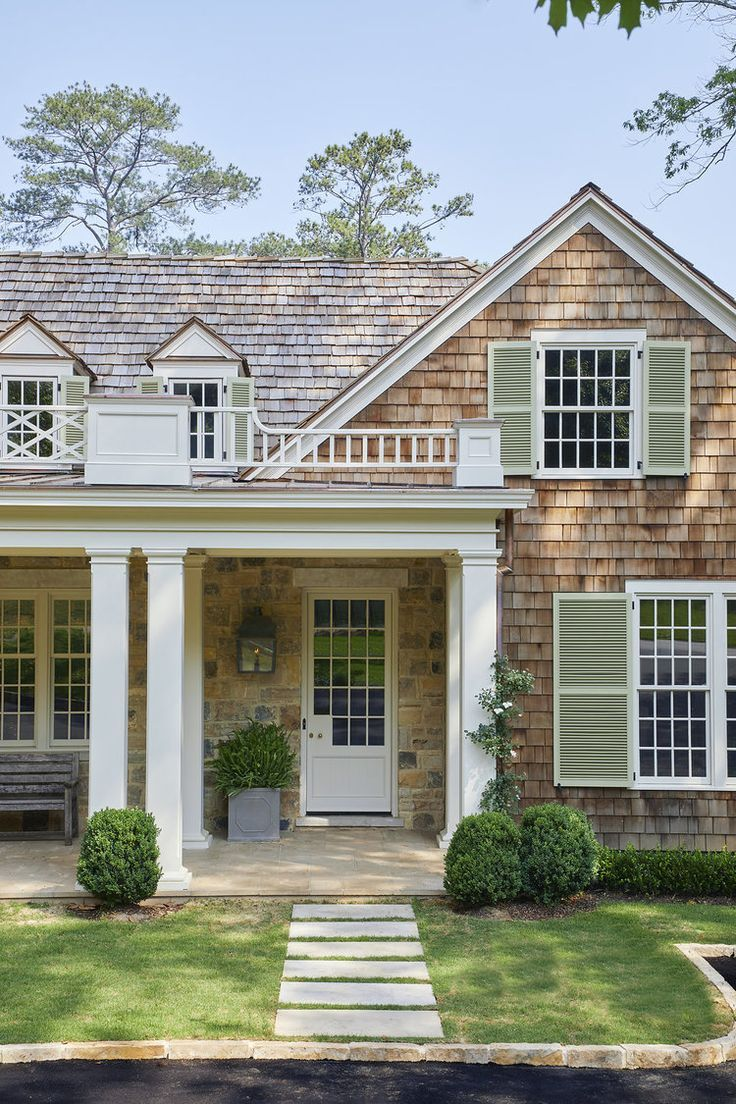 Shingled Exterior With Sage Green Shutters Cottage Curb Appeal Shingle House Exterior Shingle House House Exterior