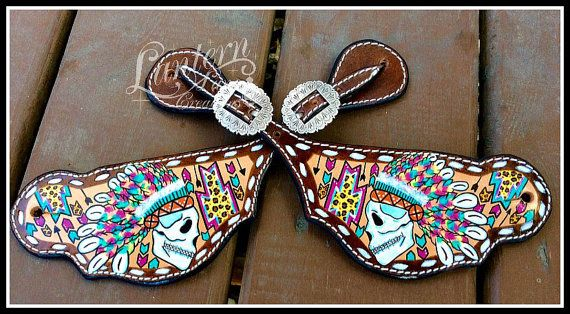 Spur Straps Indian chief skulls by LanternLaneCreations on Etsy