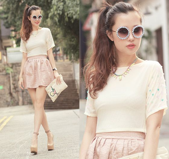 Romwe Embellished Sunnies, Accessorie*Small Neon Necklace, Wicket Embellished Top, Style Societal Crackled Skirt