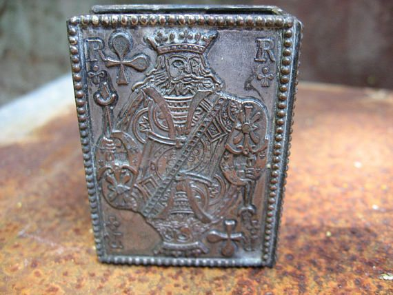 King of Clubs Matchbox cover, French vintage. Metal engraved Roi playing card face. Small match box holder for candles, fireplace, smoker