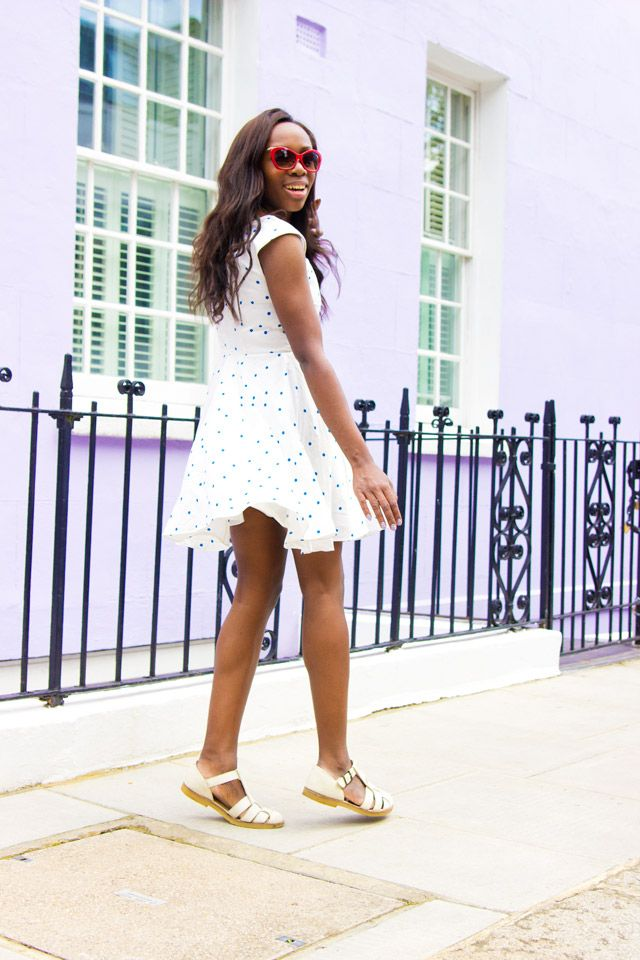 Wearing a Boden spotty white summer dress for COTTON USA