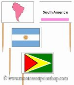 South American Flags: Pin Map Flags - 14 Pin Map Flags of South America