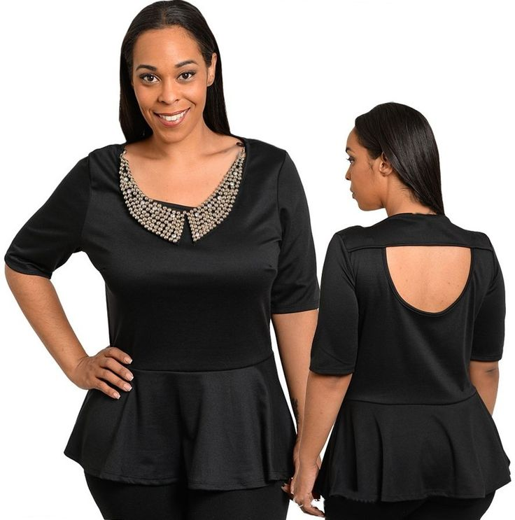 City Style Chic - Black Peplum Top with Beaded Collar, $35.50 AUD.  Free standard shipping within Australia.  (http://www.citystylechic.com.au/new-arrivalsblack-peplum-top-with-beaded-collar)