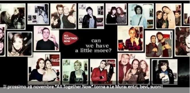 """Il prossimo 28 novembre """"All Together Now"""" torna a Le Mura: entri, bevi, suoni!"""