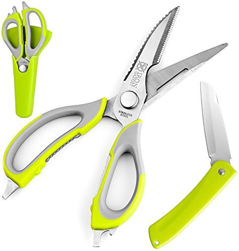 Traditional Multifunction Kitchen Shears - Stainless Steel, Heavy Duty - Come-Apart Kitchen Scissors - Includes Refrigerator Magnetic Holder - Multipurpose Kitchen Tool - BONUS: Folding Knife, ,