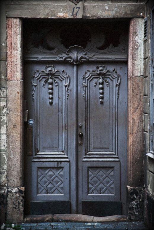 Big dark door in Stockholm.