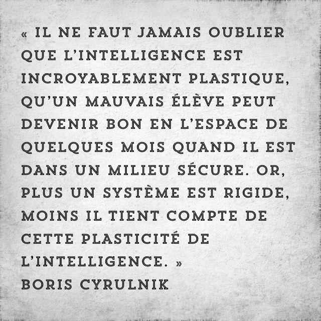 « Il ne faut jamais oublier que l'intelligence est incroyablement plastique, qu'un mauvais élève peut devenir bon en l'espace de quelques mois quand il est dans un milieu sécure. Or, plus un système est rigide, moins il tient compte de cette plasticité de l'intelligence. » Boris Cyrulnik