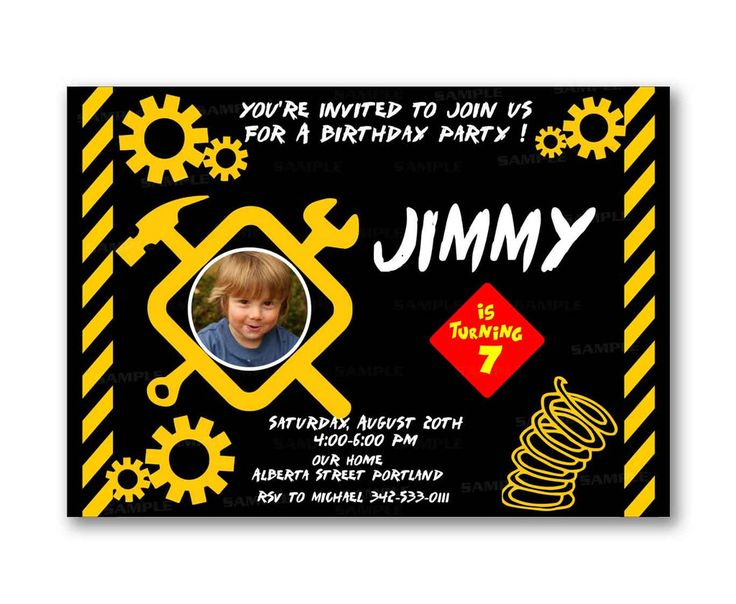 Construction Kids Birthday Invitation Party Design