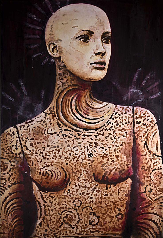"Carla Bresciano, acrylic  ""Tattooed Angel"""