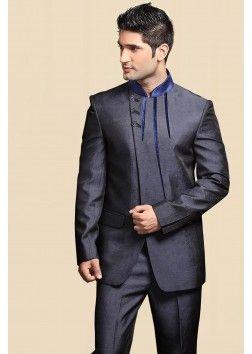 Navy Blue Colour Italian Wedding Suit - ST100