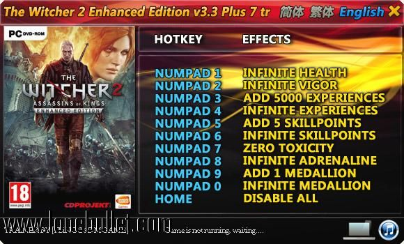 Get the The Witcher 2 Enhanced Edition Steam Trainer for free download with a direct download link having resume support from LoneBullet - http://www.lonebullet.com/trainers/download-the-witcher-2-enhanced-edition-steam-trainer-free-7196.htm - just search for The Witcher 2 Enhanced Edition Steam Trainer The Witcher 2
