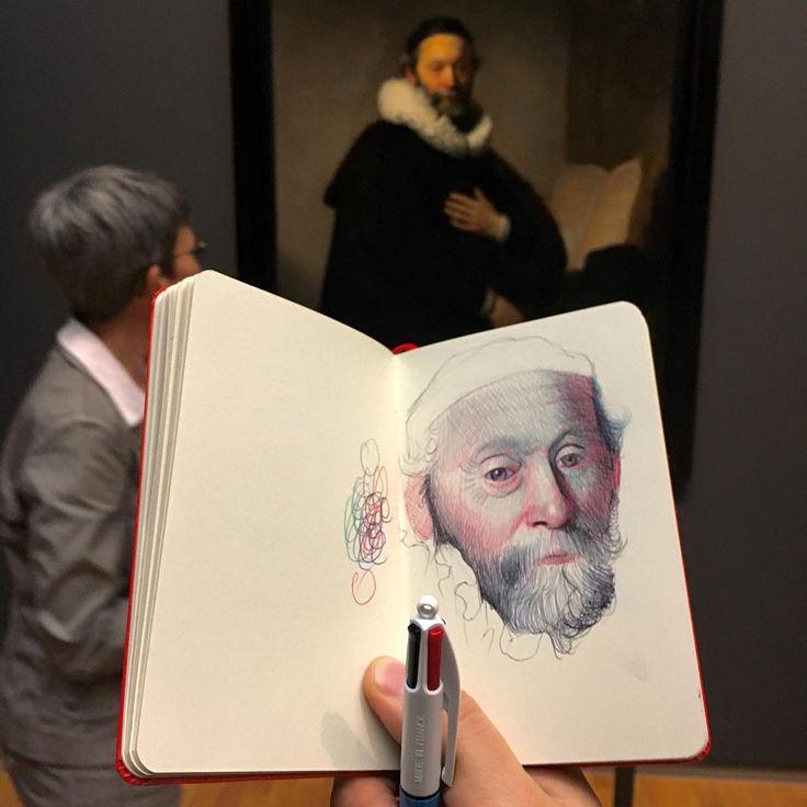 "5,625 Me gusta, 68 comentarios - Nicolas V Sanchez (@nicolasvsanchez) en Instagram: ""Drawing the portrait of Johannes Wtenbogaert by Rembrandt at the @Rijksmuseum. WIP #drawing…"""