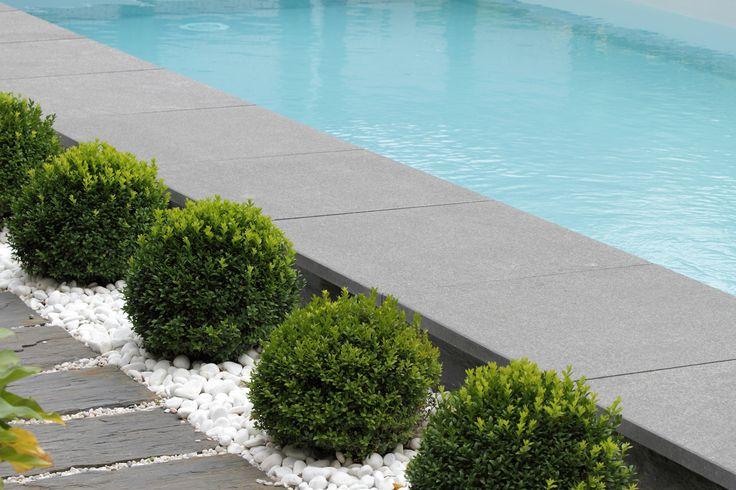 La piscine paysagée par l'esprit piscine 8 x 3,5 m Revêtement gris clair Escalier d'angle intérieur avec mini banquette Margelles en granit noir flammé