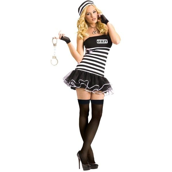 Women's Sassy Jail Bird Costume ($25) ❤ liked on Polyvore featuring costumes, halloween, women's costumes, ladies costumes, ladies superhero costumes, superhero costumes, lady halloween costumes et party costumes