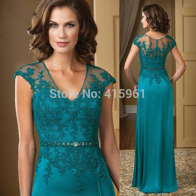 Vestido mae da noiva Hunter Elegant V Neck Lace Mãe de Vestidos de Noiva Plus Size Calças Chiffon Noite da Luva do Tampão M2194