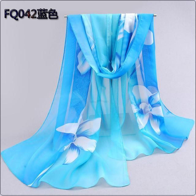 Silk Floral Hijab Blue                      – Arawelo