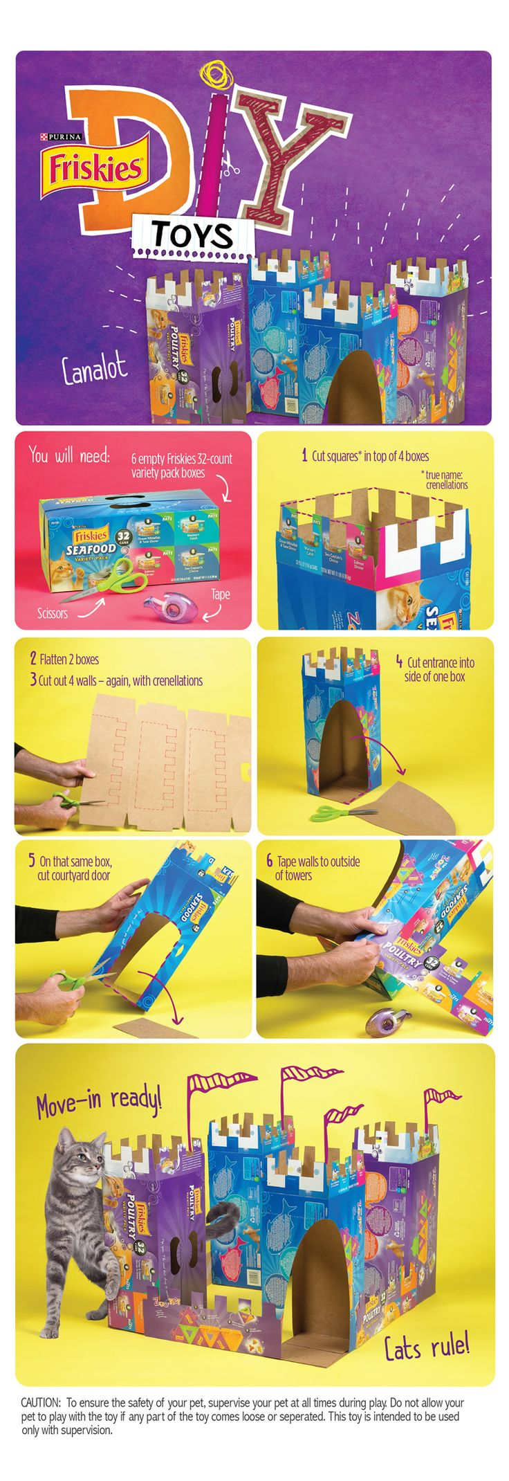 """Friskies® DIY Homemade Cat Toy: """"Canalot""""  A magical castle for your kitty cat made from free materials"""