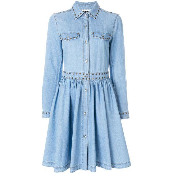 Moschino denim skater dress ($1,300) ❤ liked on Polyvore featuring dresses, blue, denim circle skirt, blue skater skirt, skater skirt dress, circle skirts and long-sleeve skater dresses