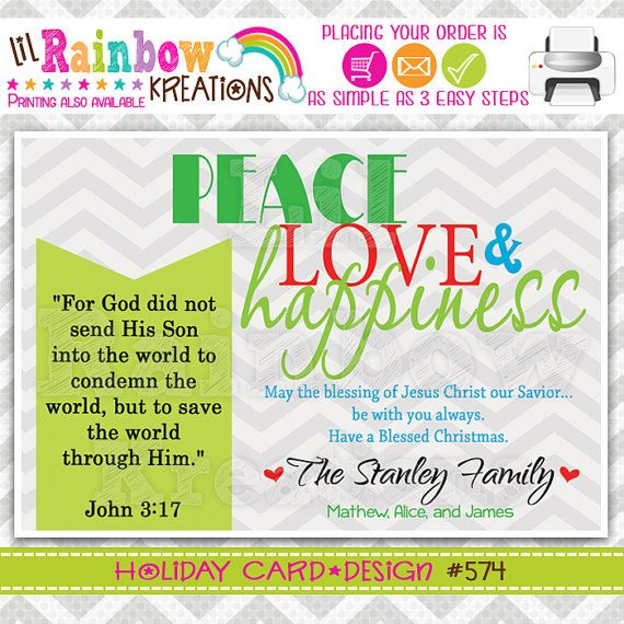 574: DIY  Peace Love and Happiness Holiday Greeting Card