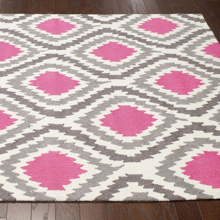 A Rich Centerpiece The Hand Hooked Matthieu Area Rug Creates Bold Living Room Bedroom Or Nursery Aesthetic Pink Gray And Ivory Abstract Diamonds Lend