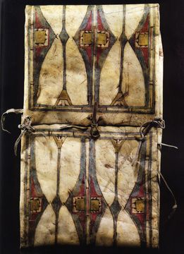 Cheyenne Painted Parfleche Envelope: Originally collected by James Carnegie, the 9th Earl of Southesk, who in 1858 traveled to the United States & Canada from his native Scotland, after being advised it would improve his health. His route included traveling up the Athabasca River from Fort Edmonton, across what is now called Southesk Pass, & down Job Creek & Coral Creek to the Kootenay Plains of the Saskatchewan River Valley.