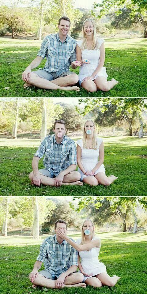 Adorable bubble gum gender reveal photos!