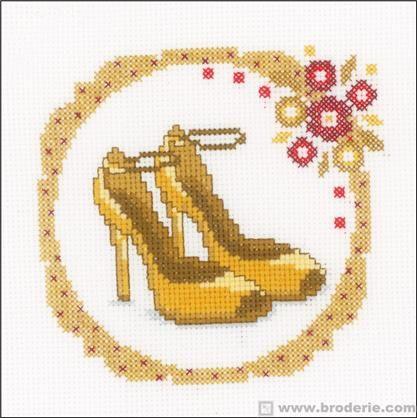 point de croix chaussure, escarpin jaune de femme - cross stitch yellow woman's shoes, stiletto