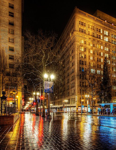 SW 6th Avenue between SW Morrison and SW Yamhill by Pioneer Courthouse and Pioneer Courthouse Square.