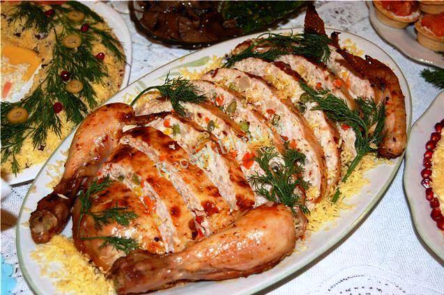 курица фаршированная в духовке фото