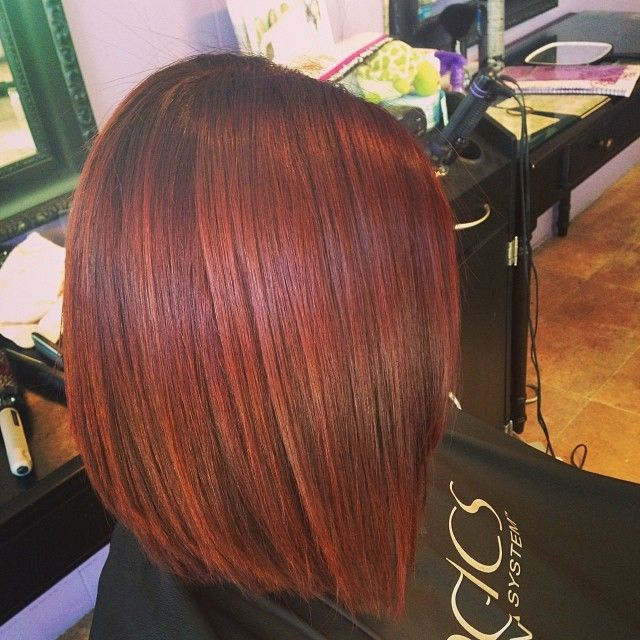 Red Hair and short Haircut with a Slight A-Line❤ #red #hair #color