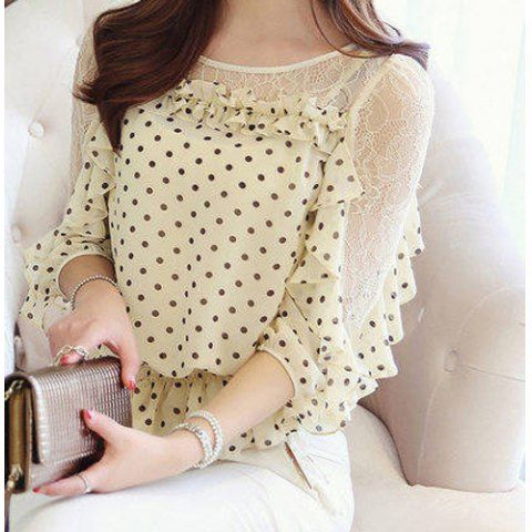Chic Style Round Collar Lace Splicing Polka Dot Print Chiffon Women's BlouseBlouses | RoseGal.com