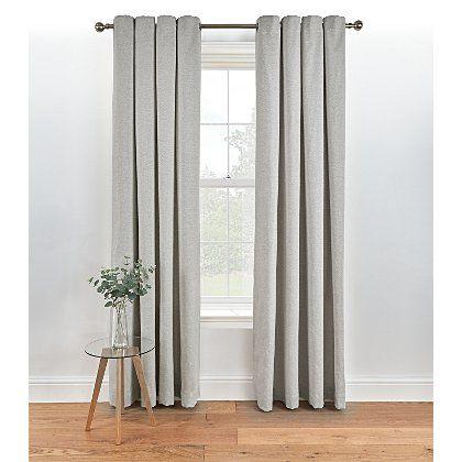 Herringbone Lined Eyelet Curtains - Grey | Home & Garden | George